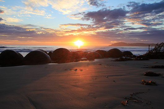 Stunning Moeraki Boulders at Sunrise