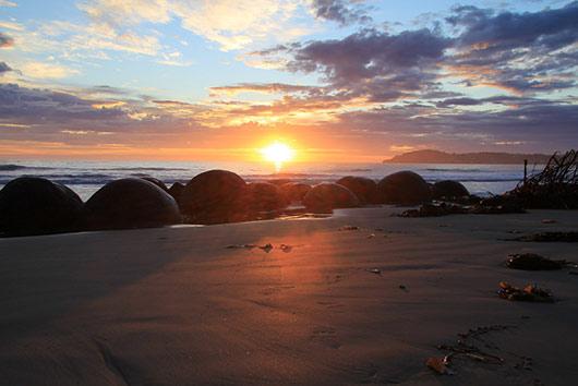 Stunning Moeraki Boulders at Sunrise