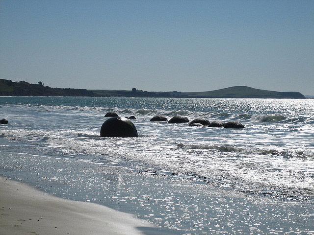 Moeraki boulders at high tide