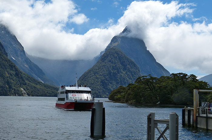 Cruise boat at Milford Sound