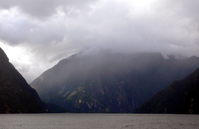 Milford Sound shrouded in cloud and mist